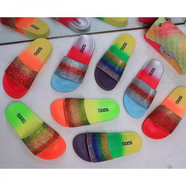 Women's Platform Sandals Rhinestones Shiny Slides