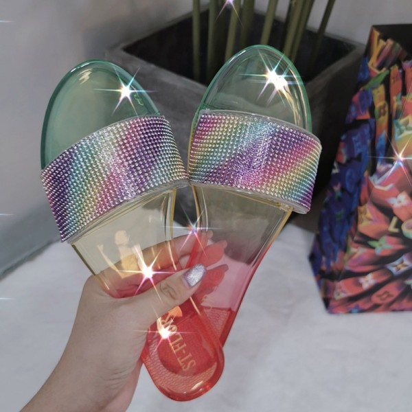 Women's Transparent Slide Sandals Shiny Crystals Slippers
