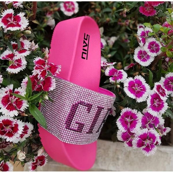 Women's Platform Sandals Rhinestone Letters Slippers