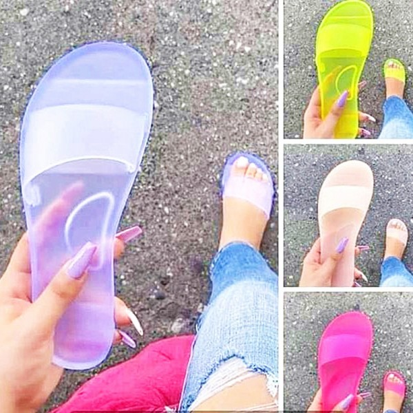 Women's Jelly Slide Sandals Transparent Open Toe Slippers