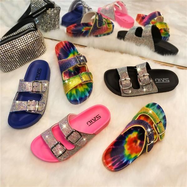 Women's Buckles Slide Sandals Shiny Rhinestone Slippers