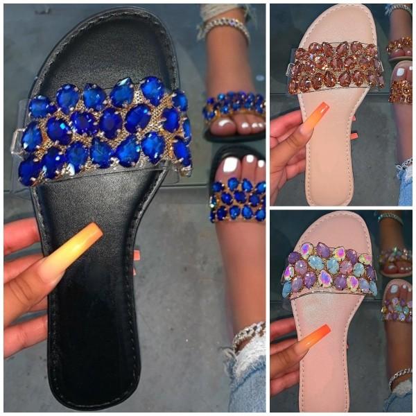 Women's Slide Sandals Diamond Print Slippers