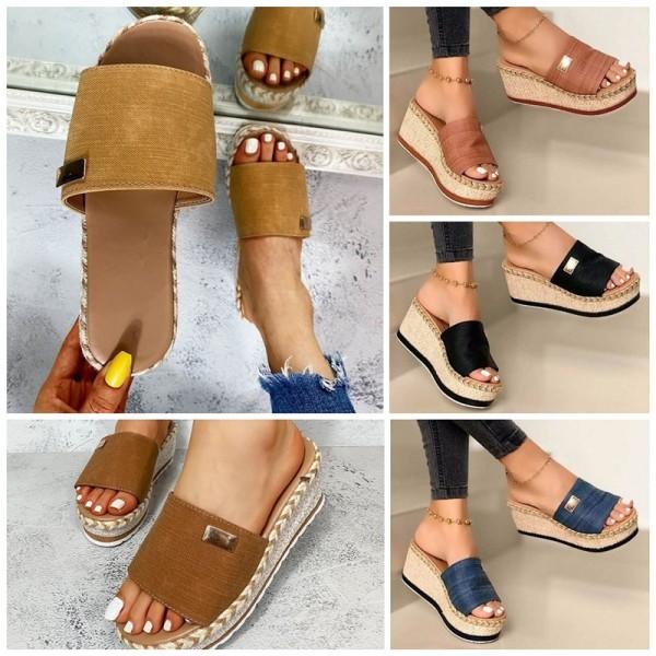 Women's Platform Slide Sandals Heel Slippers