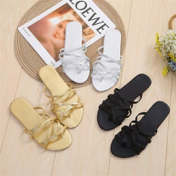 Women's Flat Slide Sandals Strappy Slippers