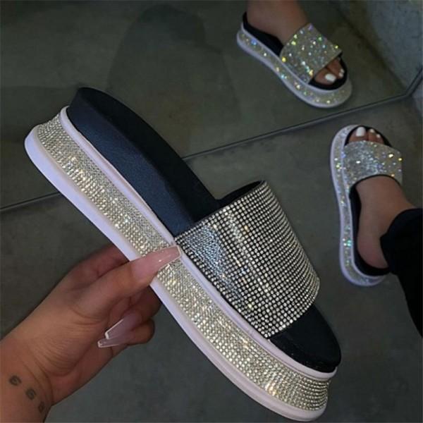 Glittering Rhinestones Slide Sandals for Women Fashion Platform Slippers