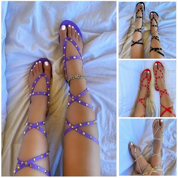 Women's Shiny Rivets Flat Sandals Gladiator Strappy Sandals