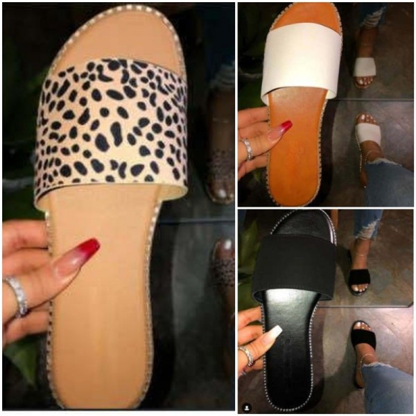 Women's Flat Slippers Leopard Print Slide Sandals