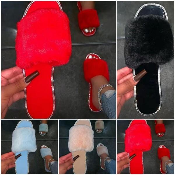 Women's Fur Slides Glittering Rhinestones Flat Slippers