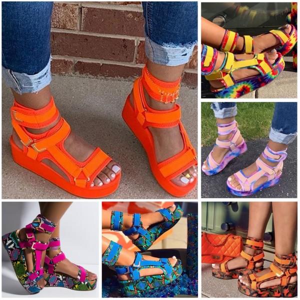 Women's Velcro Platform Sandals Snakeskin Wedge Sandals