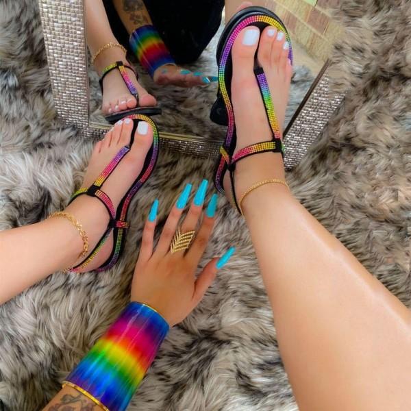 Women's Rhinestone Flipflop Shiny Flat Thong Sandals