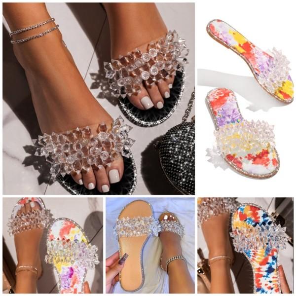 Glittering Crystals Sandals Women's Fashion Flat Slippers