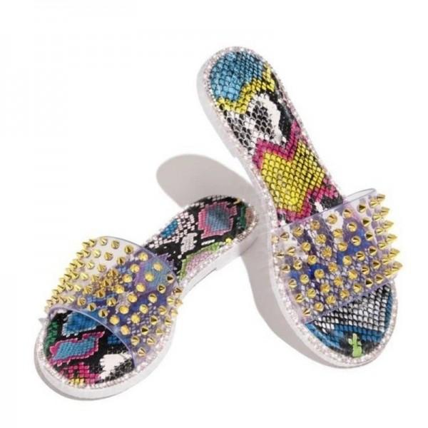 Glittering Rivets Sandals Women's Fashion Flat Slippers