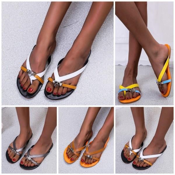 Coloful Strappy Flipflop Women's Fashion Flat Thong Sandals