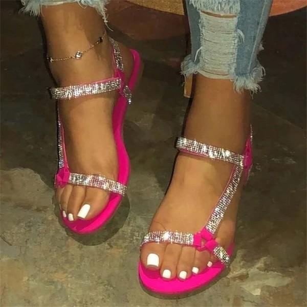 Flatform Tevas Sandals Glittering Rhinestones Sandals