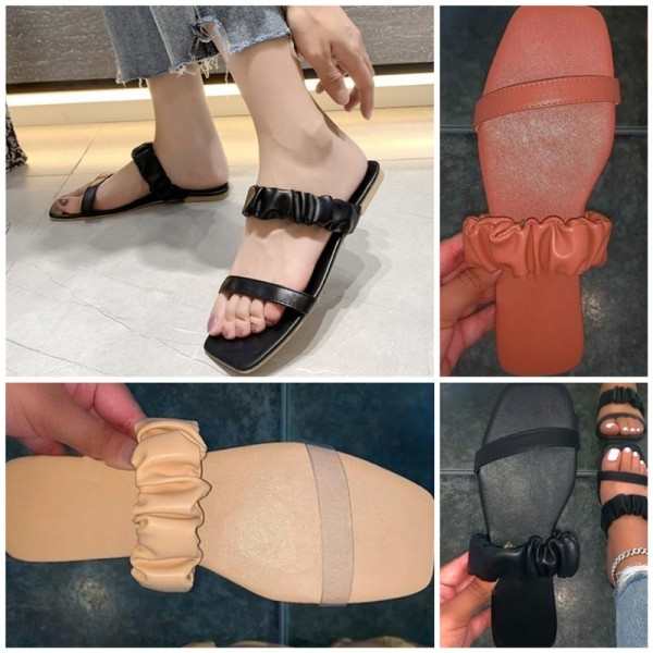 Elastic Flat Sandals Women's Fashion Toe Out Slippers