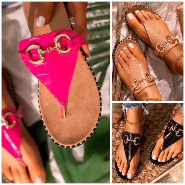 Women's Leather Flipflop Fashion Flat Thong Sandals