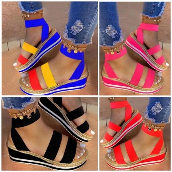 Colorful Platform Sandals Women's  Fashion Wedge Sandals