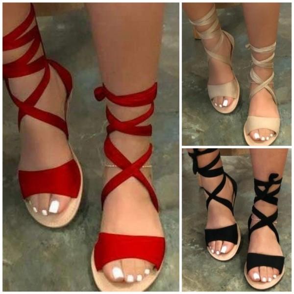 Women's Gladiator Slide Sandals Roman Strappy Flat Sandals