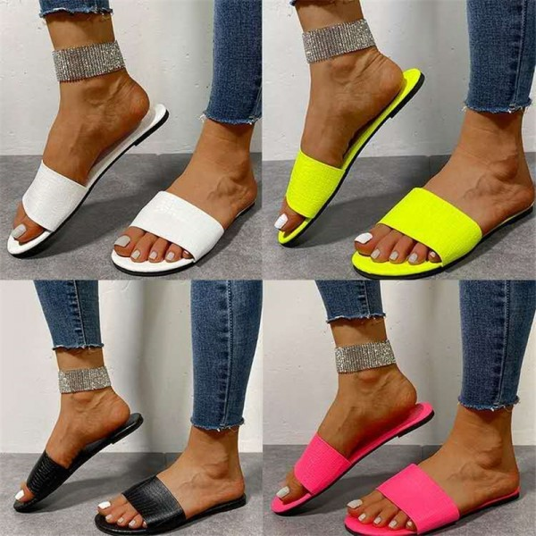 Pure Color Slide Sandals Women's Casual Beach Slippers