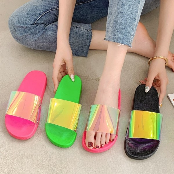 Holographic Slide Sandals Women's Fashion Flat Slippers