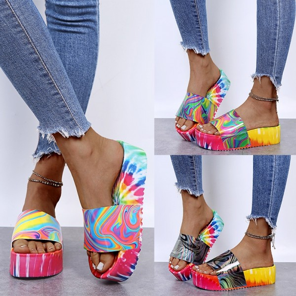 Colorful Platform Sandals Women's Tie Dye Fashion Slippers