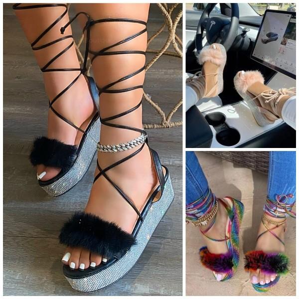 Women's Gladiator Furry Sandals Strappy Rhinestones Platform Sandals