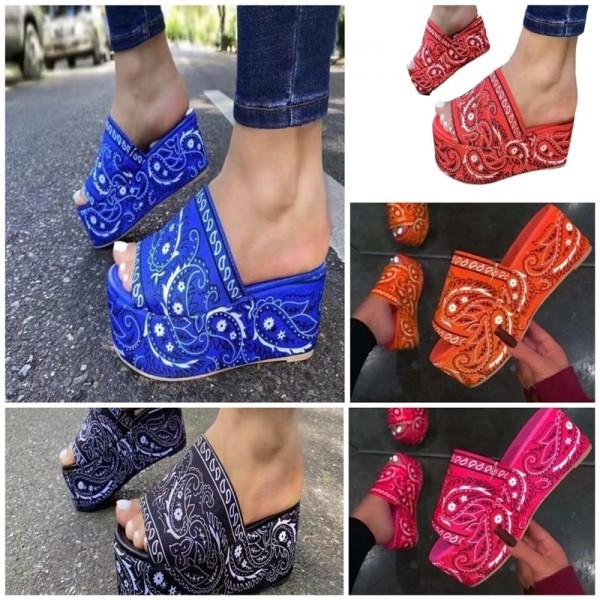 Bandana Slide Sandals for Women Floral Platform Slippers