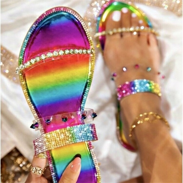 Glittering Crystals Slide Sandals for Women Fashionable Beach Flat Slippers