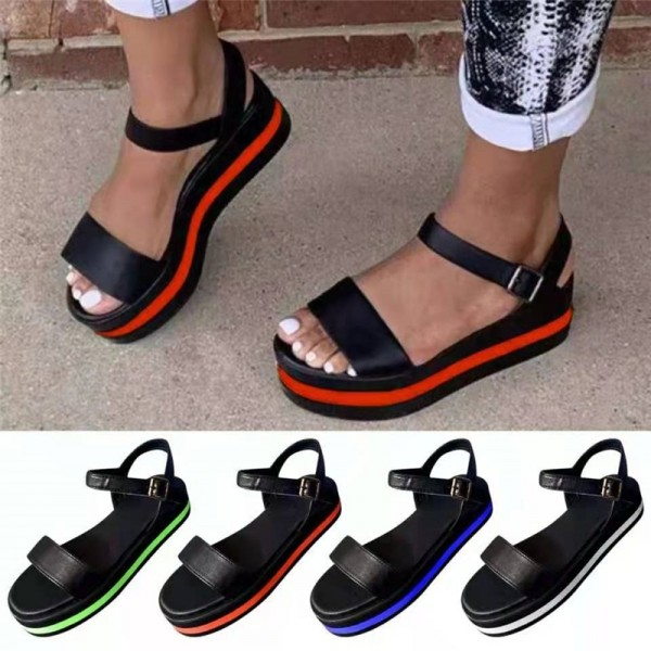 Women's Platform Sandals Slip-on Color Matching Sandals