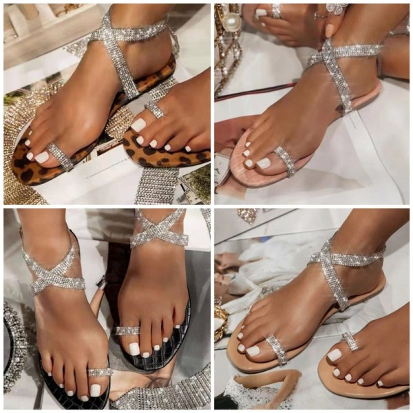 Glittering Crystals Slide Sandals for Women Open Toe Fashionable Sandals