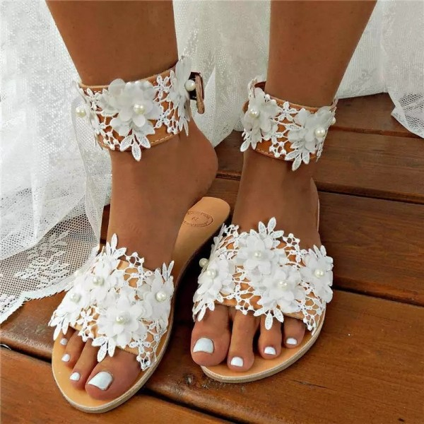 Lace Sandals for Women Elegant Flowers and Pearls Sandals