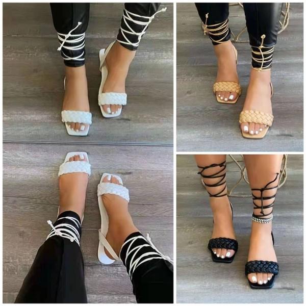 Braided Strappy Flat Slide Sandals Women's Gladiator Sandals