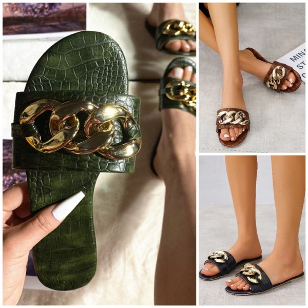 Fashion Flat Leather Sandals Women's Big Chains Decorated Slippers