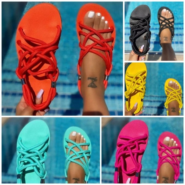 Colorful Flat Sandals for Women Strappy Sandals