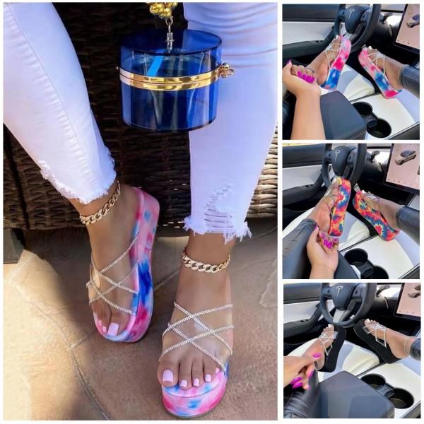 Glittering Crystals Platform Slide Sandals Women's Tie Dye Clear Slippers