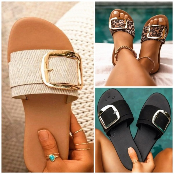 Fashion Flat  Sandals Women's Big Buckles Decorated Slippers