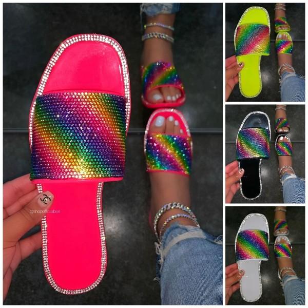 Glittering Colour Rhinestones Sandals Women's Fashion Flat Slippers