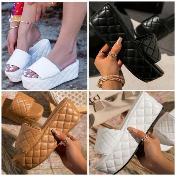 Women's Platform Sandals Leather Fashionable Slide Slippers