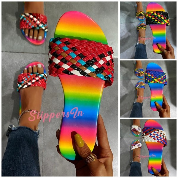 Braided Straps Flat Slide Sandals Women's Fashion Colours Slippers