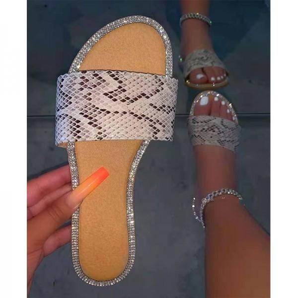 Leopard Print Slide Sandals Women's Crystals Flat Slippers