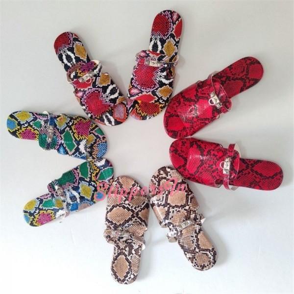 Snakeskin Print Slide Sandals Women's Fashion Flat Slippers