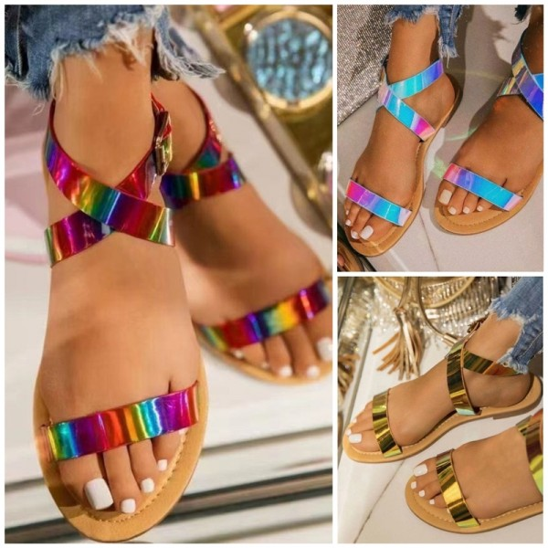 Holographic Flat Sandals for Women Shiny Fashion Sandals