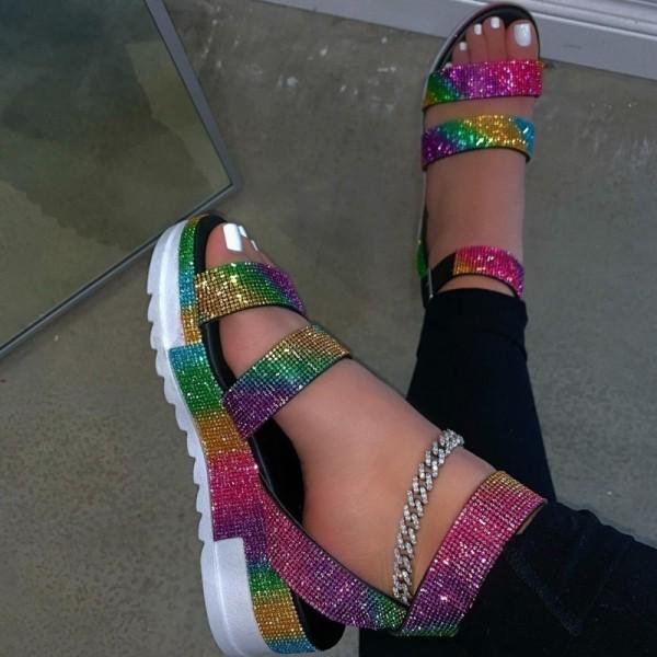 Glittering Crystals Sandals for Women Fashion Platform Sandals