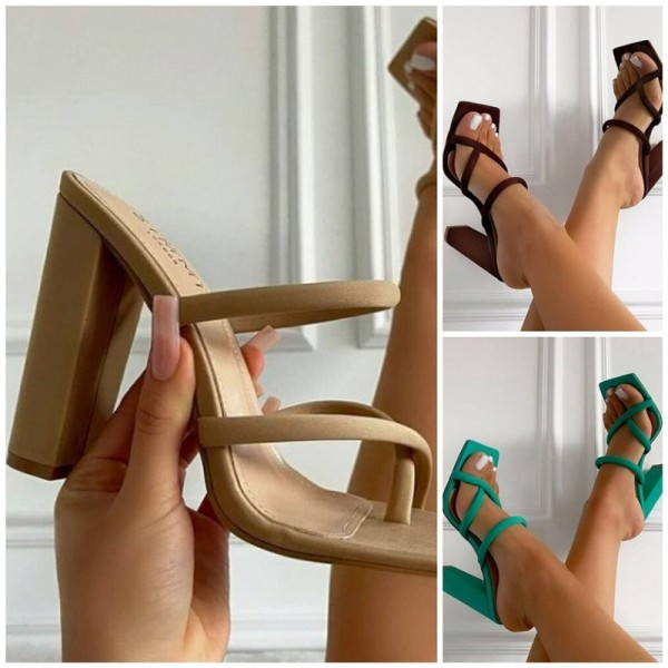 Women's Chunky High Heel Sandals Strappy Fashion Sandals