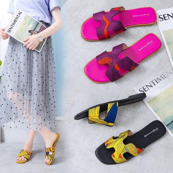 Women's Floral Print Sandals Fashion Flat Slide Slippers