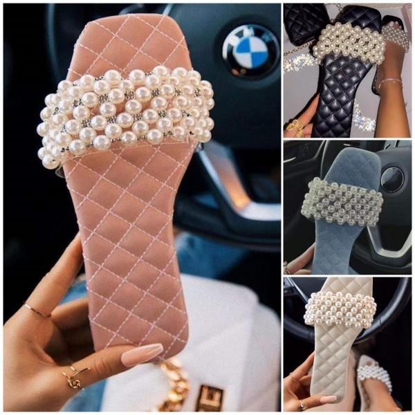 Glittering Pearls Slide Sandals Women's Flat Slippers