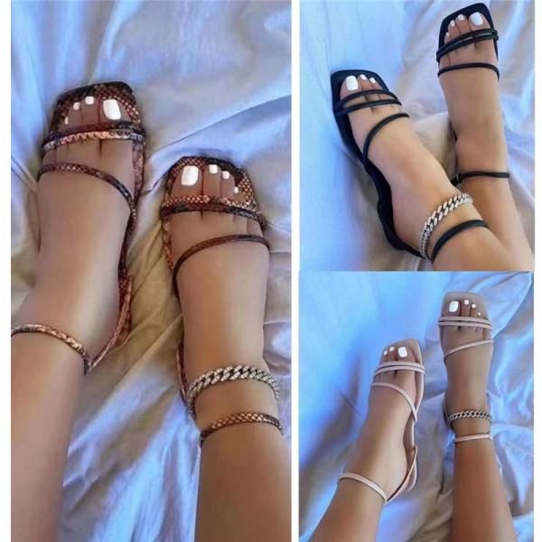 Strappy Flat Slide Sandals Women's Square Cut Head Sandals