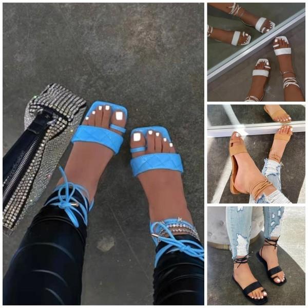 Gladiator Flat Slide Sandals Women's Fashion Strappy Sandals