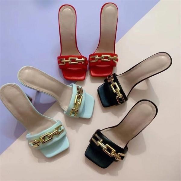 Women's High Heel Slide Sandals Chain Decor Square Toe Mules