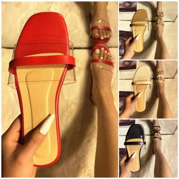Women's Flat Slide Sandals Fashion Transparent Upper Slippers